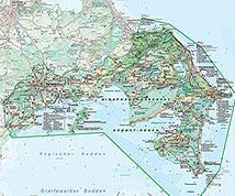 Karte Rügen.Rügen Karte Biosphärenreservat Südost Rügen